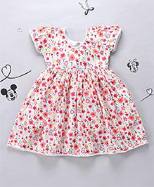 Periwinkles Mini Flower Printed Dress - Pink