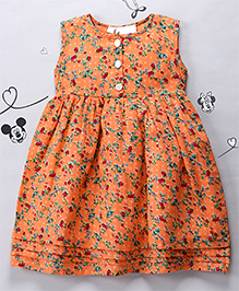Periwinkles Chikankari Work Dress - Orange