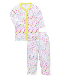 Playbeez Little Hearts Print Sleep Wear Two Piece Set - Multicolor