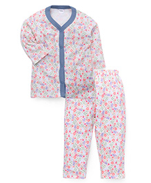 Playbeez Flowers & Leaves Print Sleep Wear Two Piece Set - Blue
