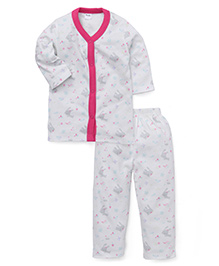 Playbeez Cute Rabbit Print Sleep Wear Two Piece Set - Multicolor