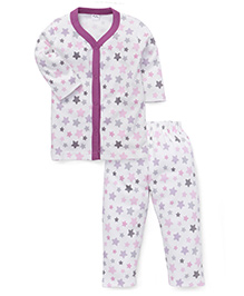 Playbeez Star Print Sleep Wear Two Piece Set - Purple