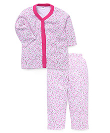 Playbeez Rose & Leaves Print Sleep Wear Two Piece Set - Pink