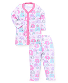 Playbeez Elephant Print Sleep Wear Two Piece Set - Pink & Blue