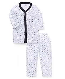Playbeez Teddy Bear Print Sleep Wear Two Piece Set - Blue & Black