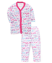 Playbeez Colorful Butterflies Print Sleep Wear Two Piece Set - Pink & Blue