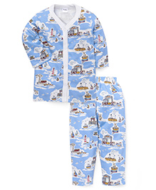 Playbeez Ocean Port Print Sleep Wear Two Piece Set - Blue