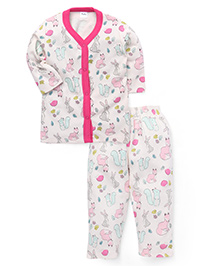 Playbeez Squirrel & Sly Fox Print Sleep Wear Two Piece Set - Multi Color