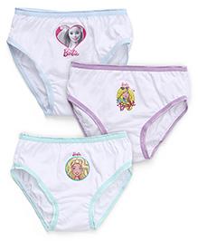 Barbie Panties White Base Pack of 3 - Blue Purple Sea Green