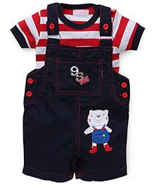 Wonderchild Dungaree With Stripe T-Shirt - Blue Red White