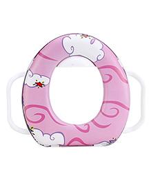 Babyhug Cushioned Potty Seat With Handle Printed - Pink