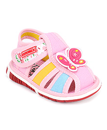 Cute Walk by Babyhug Sandals Velcro Closure Butterfly Patch - Pink