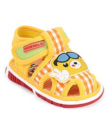 Cute Walk by Babyhug Sandals Velcro Closure Patch & Checks Print - Yellow