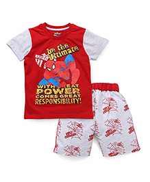 Eteenz Half Sleeves T-Shirt And Shorts Spider Man Print - Red Light Grey