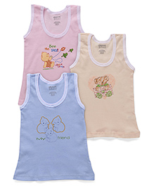 Bodycare Sleeveless Solid Color Vests With Print Set Of 3 - Pink Yellow Blue (Color And Prints May Vary)