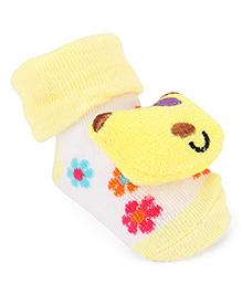 Cute Walk By Babyhug Sock Shoes Teddy Motif - Yellow White
