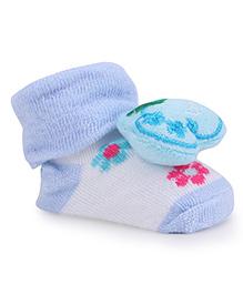 Cute Walk By Babyhug Sock Shoes Apple Motif & Flowers Design - Blue & White