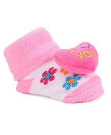 Cute Walk By Babyhug Sock Shoes Heart Motif & Floral Design - Pink & White