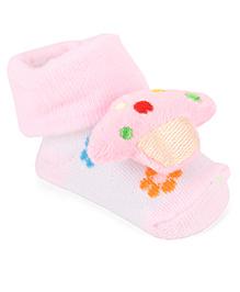 Cute Walk By Babyhug Sock Shoes Floral Design & Ship Motif - Pink White