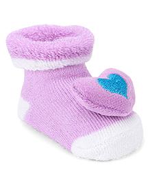 Cute Walk By Babyhug Sock Shoes Heart Motif - Purple & White