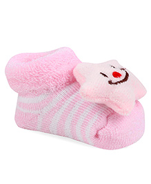 Cute Walk By Babyhug Sock Shoes Star Face Motif & Stripes Design - Pink & White