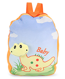 Dimpy Stuff Soft Nursery Bag With Little Dino Print Yellow - 13 Inches