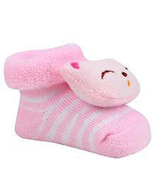 Cute Walk By Babyhug Sock Shoes Cat Face Motif & Stripes Design - Pink & White