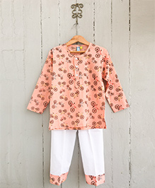 Frangipani Kids Bicycle Printed Nightsuit Set - Peach