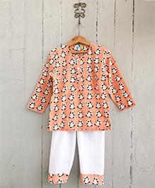 Frangipani Kids Panda Print Nightsuit Set - Peach