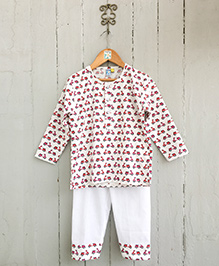 Frangipani Kids Motorcycle Print Nightsuit Set - Red & White