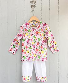 Frangipani Kids Lady Bug Garden Print Nightsuit Set - Multicolour