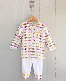 Frangipani Kids Candies Print Nightsuit Set - Multicolour