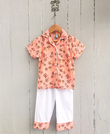 Frangipani Kids Collar Bicycle Printed Nightsuit Set - Orange