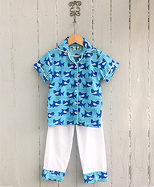 Frangipani Kids Shark Printed Nightsuit Set - Blue