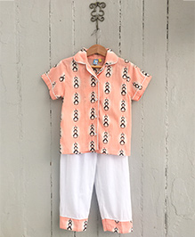 Frangipani Kids Penguin Collar Night Suit Set - Orange