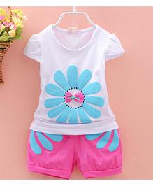 Tickles 4 U Set Of Flower Print Tee & Shorts - White & Pink