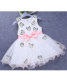 Tickles 4 U Butterfly Applique Bow Dress -White