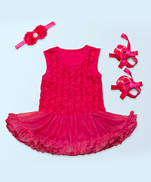 Tickles 4 U Set Of 3 Drop Waist Dress With Boot & Hair Band - Pink