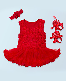 Tickles 4 U Set Of 3 Drop Waist Dress With Boot & Hair Band - Red