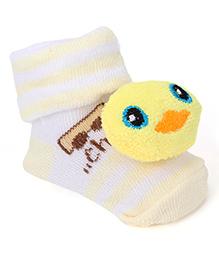 Cute Walk By Babyhug Sock Shoes Bird Motif - Yellow White