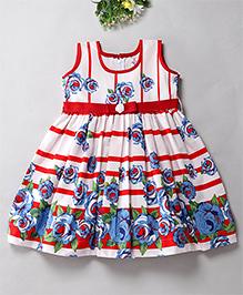 Mom's Girl Rose Printed Stripe Dress - Red & White