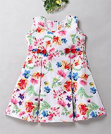 Mom's Girl Floral Bow Pleat Summer Dress - Multicolour