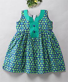Mom's Girl Gather Yoke Dress - Green & Blue