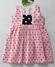 Mom's Girl Bows Printed Lace Applique Summer Frock - Pink