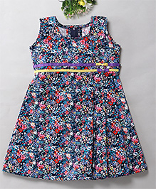Mom's Girl Floral Printed Bow Dress With Belt Applique - Navy Blue