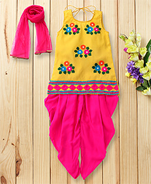 Twisha Embroidered Kurta With Dhoti With Dupatta - Yellow & Pink