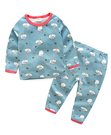 Funtoosh Kidswear T-Shirt And Bottom Set Rabbit Print - Blue