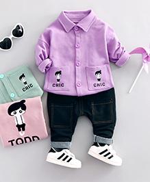 Funtoosh Kidswear Shirt & Bottom Set - Black & Purple