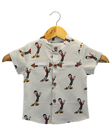 Funtoosh Kidswear Cartoon Print Shirt - Off White