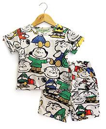 Funtoosh Kidswear Cartoon Print T-Shirt & Shorts Set - Grey & Red